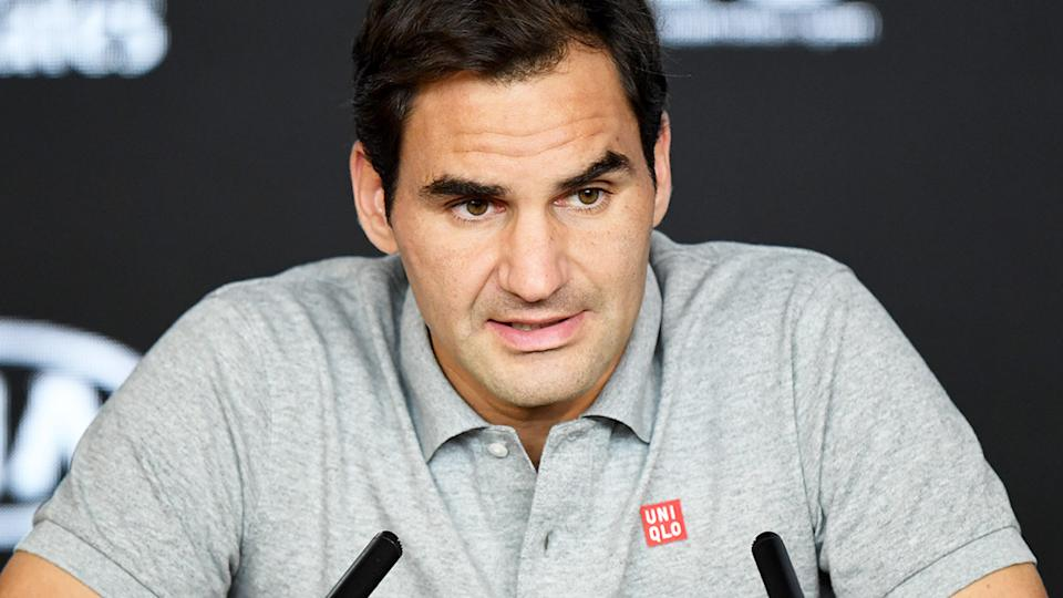 Roger Federer, pictured here speaking to the media ahead of his comeback.