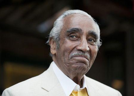 Congressman Charles Rangel smiles at supporters before speaking in New York