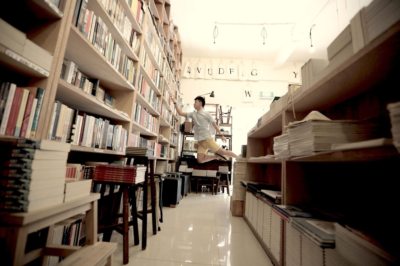 Levitating is useful when the book you want is not within your reach (Levitation SG/ Rex Features)