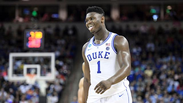 Duke forward Zion Williamson (1) reacts after getting called for a foul against Central Florida during the second half of a second-round game in the NCAA men's college basketball tournament Sunday, March 24, 2019, in Columbia, S.C. Duke defeated Central Florida 77-76. (AP Photo/Sean Rayford)