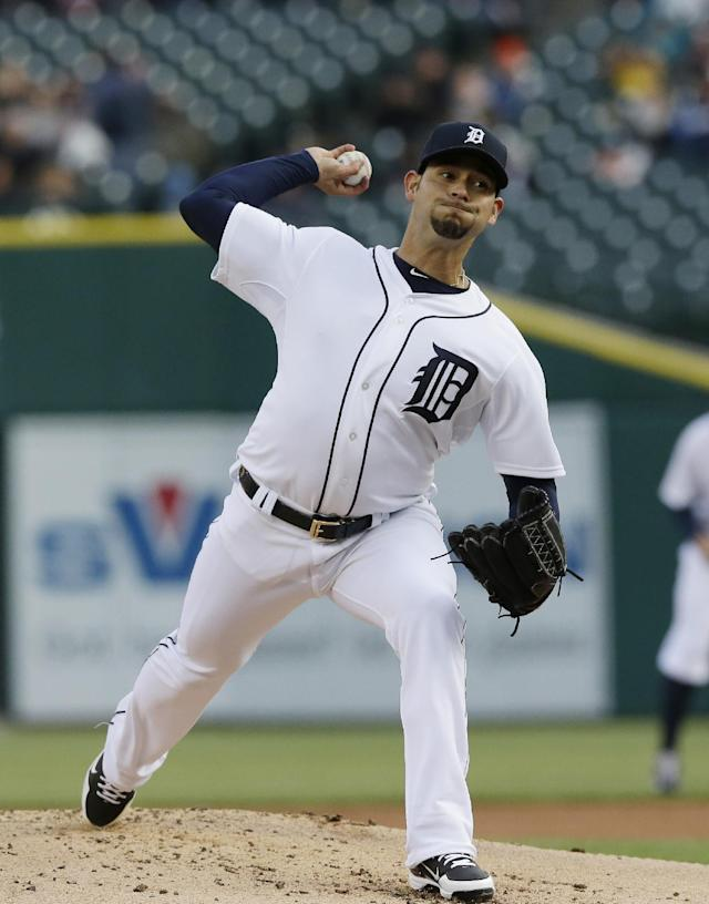 Detroit Tigers starting pitcher Anibal Sanchez throws during the first inning of a baseball game against the Cleveland Indians in Detroit, Wednesday, April 16, 2014. (AP Photo/Carlos Osorio)