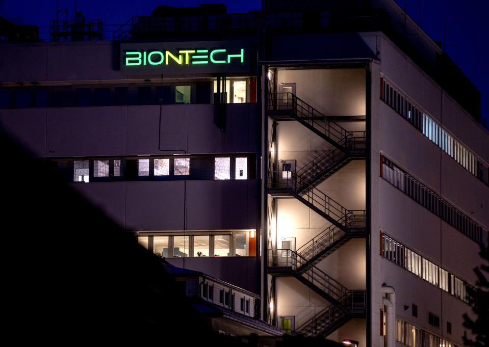 FILE - In this file photo dated Saturday, Feb. 13, 2021, a view of the BioNTech biotechnology building where production of the COVID-19 vaccine has started, in Marburg, Germany. Slow off the blocks in the race to immunize its citizens against COVID-19, Germany faces the problem of having a glut of vaccines and not enough arms to inject. With its national vaccine campaign lagging far behind that of Israel, Britain and the United States, there are growing calls in this country of 83 million to ditch or rewrite the rulebook.(AP Photo/Michael Probst, FILE)