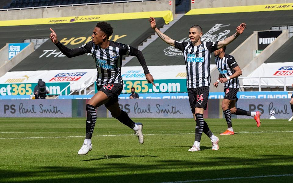 Premier League Newcastle Utd Joe Willock celebrates scoring against West Ham Utd - Ian Hodgson