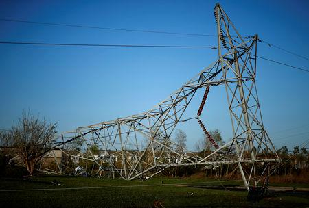 A transmission tower damaged by Hurricane Michael is seen in Callaway, Florida, U.S. October 11, 2018. REUTERS/Jonathan Bachman
