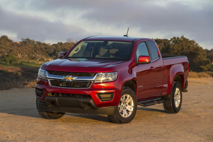 This undated photo provided by Chevrolet shows the 2019 Chevrolet Colorado, a midsize pickup that stands out for its strong engines and comfortable highway ride quality. (Jim Fets Photography/General Motors via AP)