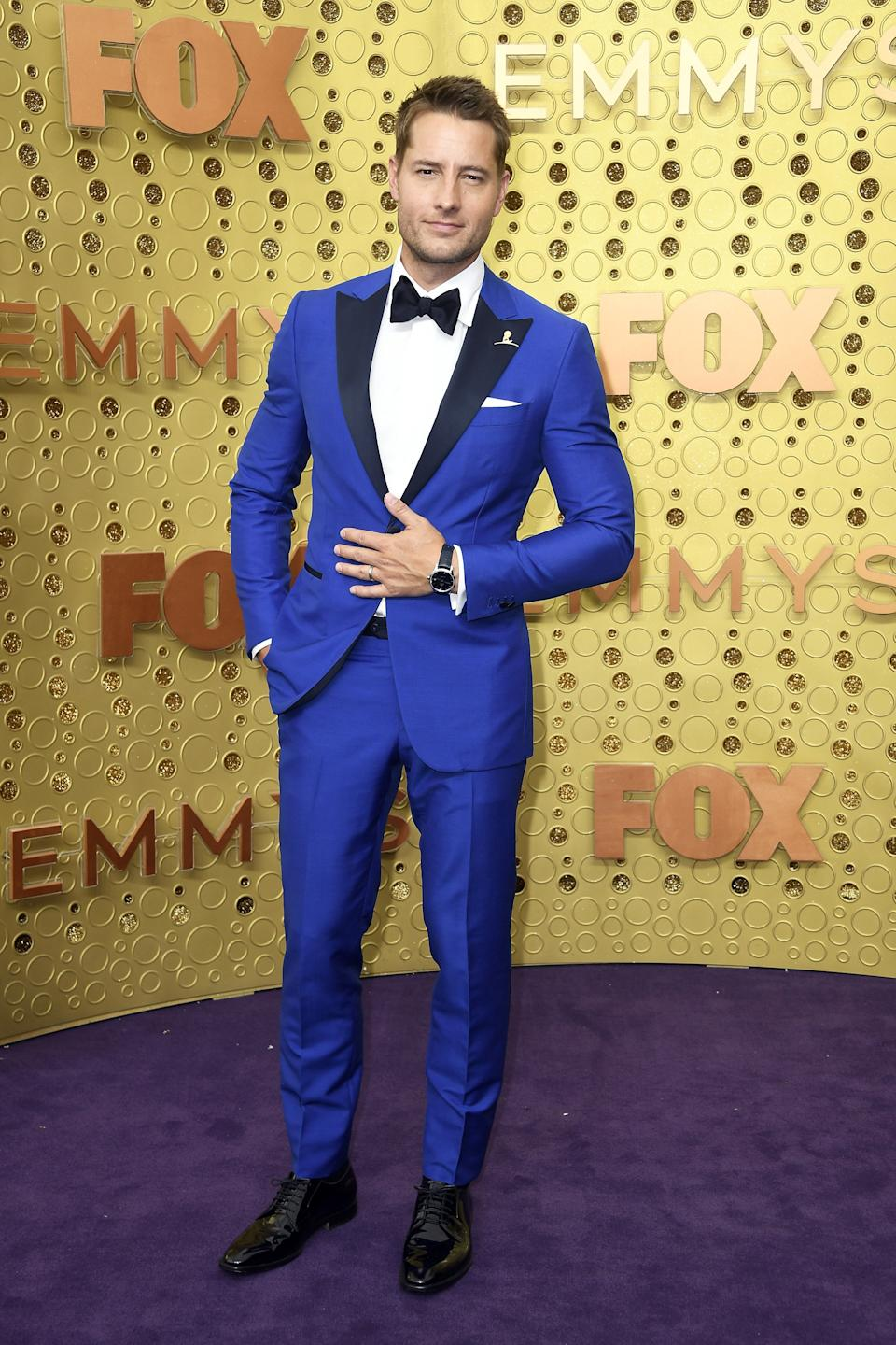 """<h1 class=""""title"""">Justin Hartley in Isaia, Tod's shoes, Omega and Montblanc jewelry</h1><cite class=""""credit"""">Photo: Getty Images</cite>"""