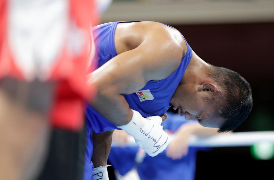 TOKYO, JAPAN - AUGUST 05: Eumir Marcial of Team Philippines reacts after the fight against Oleksandr Khyzhniak of Team Ukraineduring the Men's Middle (69-75kg) semi final on day thirteen of the Tokyo 2020 Olympic Games at Kokugikan Arena on August 05, 2021 in Tokyo, Japan. (Photo: Ueslei Marcelino - Pool/Getty Images)
