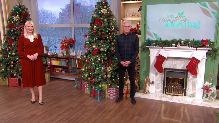 Phillip Schofield and Holly Willoughby presented This Morning's first-ever Christmas instalment (ITV)