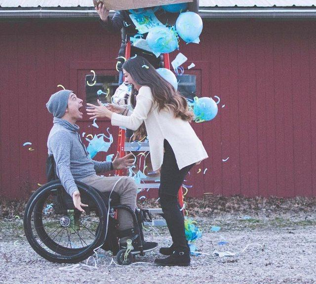 The couple's adorable reaction when they found out they were having a baby boy.