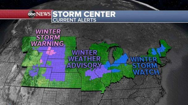 PHOTO: Ahead of the storm this morning, there are 14 states are on alert for heavy snow, gusty winds and flooding from California to Georgia. (ABC News)