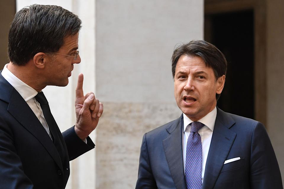 Italy's Prime Minister Giuseppe Conte (R) talks with his Dutch counterpart Mark Rutte upon his arrival for their meeting at palazzo Chigi in Rome on January 15, 2020. (Photo by Andreas SOLARO / AFP) (Photo by ANDREAS SOLARO/AFP via Getty Images) (Photo: ANDREAS SOLARO via Getty Images)