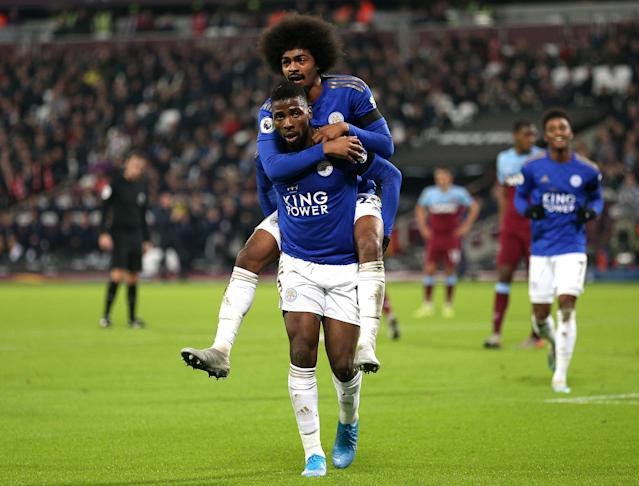 Iheanacho celebrates scoring the opener (Photo by Nigel French/EMPICS/PA Images via Getty Images)