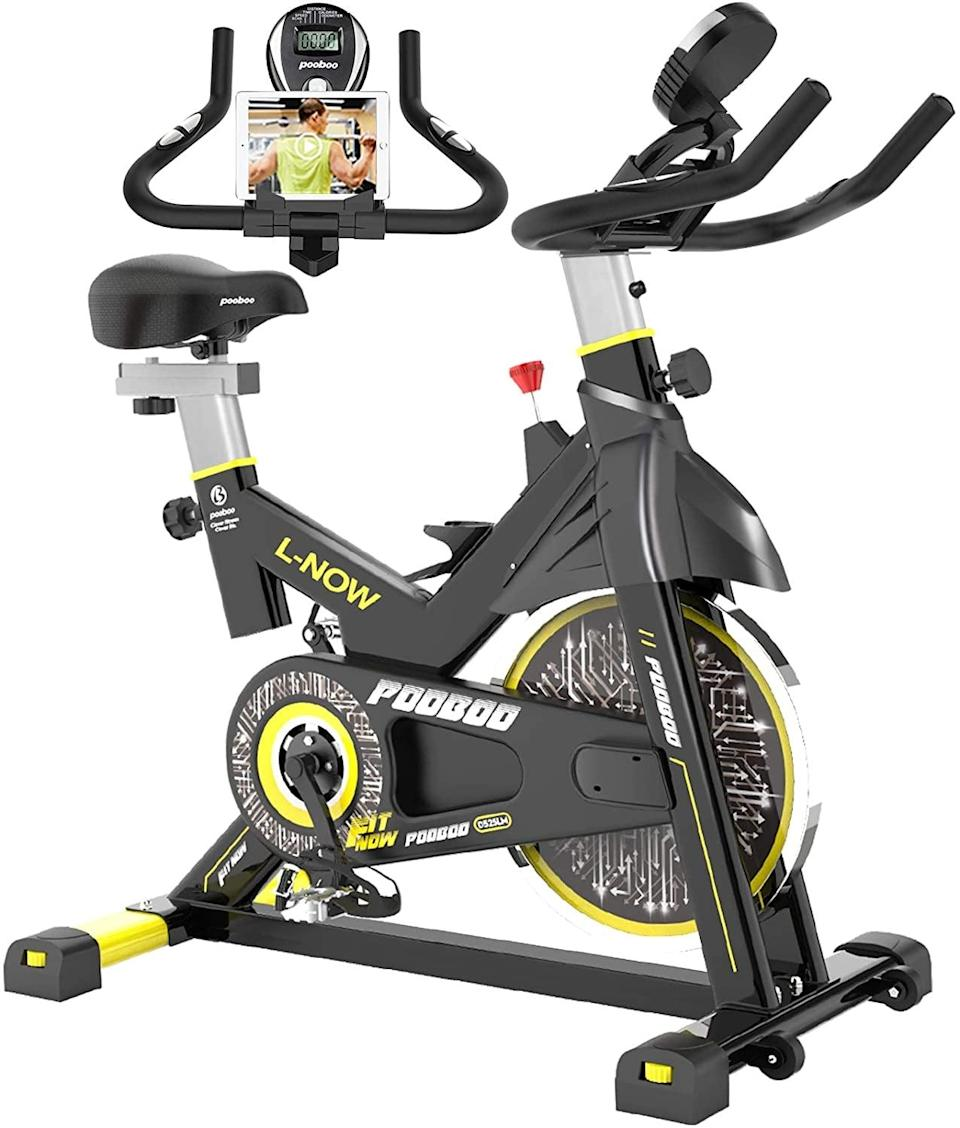 <p>This <span>Pooboo Indoor Cycling Stationary Bike</span> ($330) is a great option if you're looking to spend just a couple hundred dollars, and is an awesome way to get your cardio in. Sounds like a win-win to me.</p>