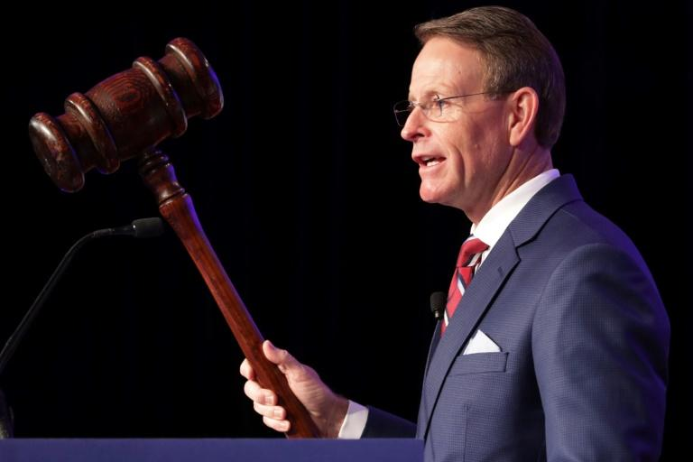 Tony Perkins, the president of the conservative Family Research Council seen here in September 2018, has applauded the creation of a State Department panel on human rights (AFP Photo/CHIP SOMODEVILLA)