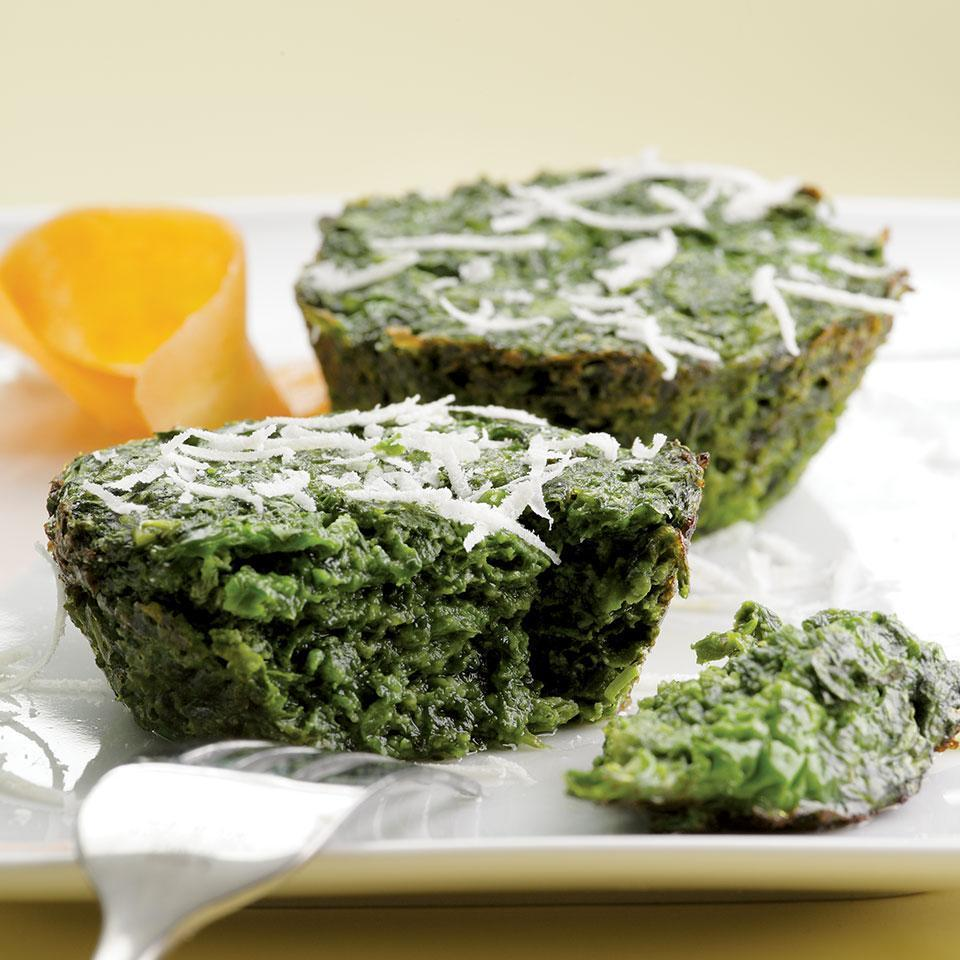 <p>If you like spinach-cheese pie, try these simple but elegant-looking little spinach cakes.</p>