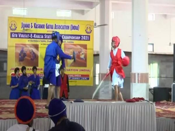 Visuals from Gurudwara where youngsters took part in Gatka competition. (Photo/ANI)