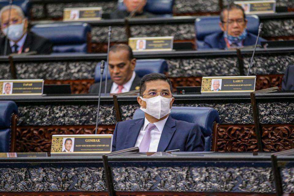 Gombak MP Datuk Seri Mohamed Azmin Ali is pictured during the second meeting of the third session of the 14th Parliament in Kuala Lumpur July 13, 2020. — Picture by Hari Anggara