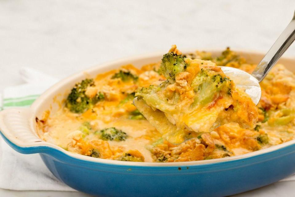 """<p>Don't wait until Wednesday to get your broccoli cheddar fix.</p><p>Get the recipe from <a href=""""https://www.oprahdaily.com/cooking/recipe-ideas/recipes/a45183/cracker-barrel-inspired-broccoli-cheddar-chicken-casserole-recipe/"""" rel=""""nofollow noopener"""" target=""""_blank"""" data-ylk=""""slk:Delish"""" class=""""link rapid-noclick-resp"""">Delish</a>.</p>"""