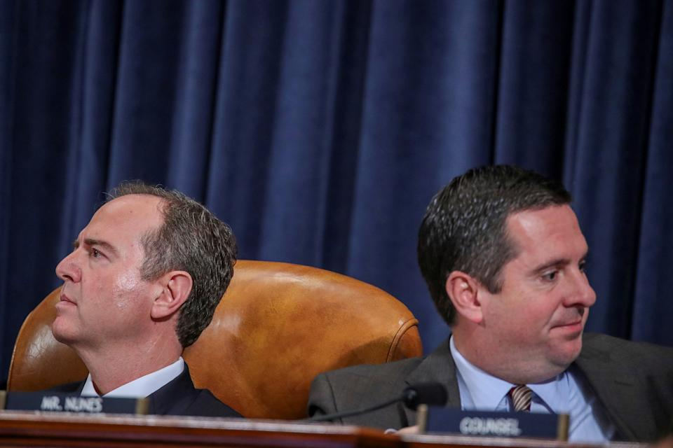 U.S. House Intelligence Committee Chairman Adam Schiff (D-Calif.) and ranking member Devin Nunes (R-Calif.) listen during a hearing for the impeachment inquiry into U.S. President Donald Trump on November 19, 2019. (Jonathan Ernst/Reuters)