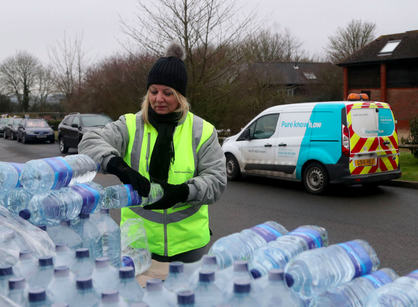 <em>Residents without water are being given bottled water while the pipes are fixed (PA)</em>