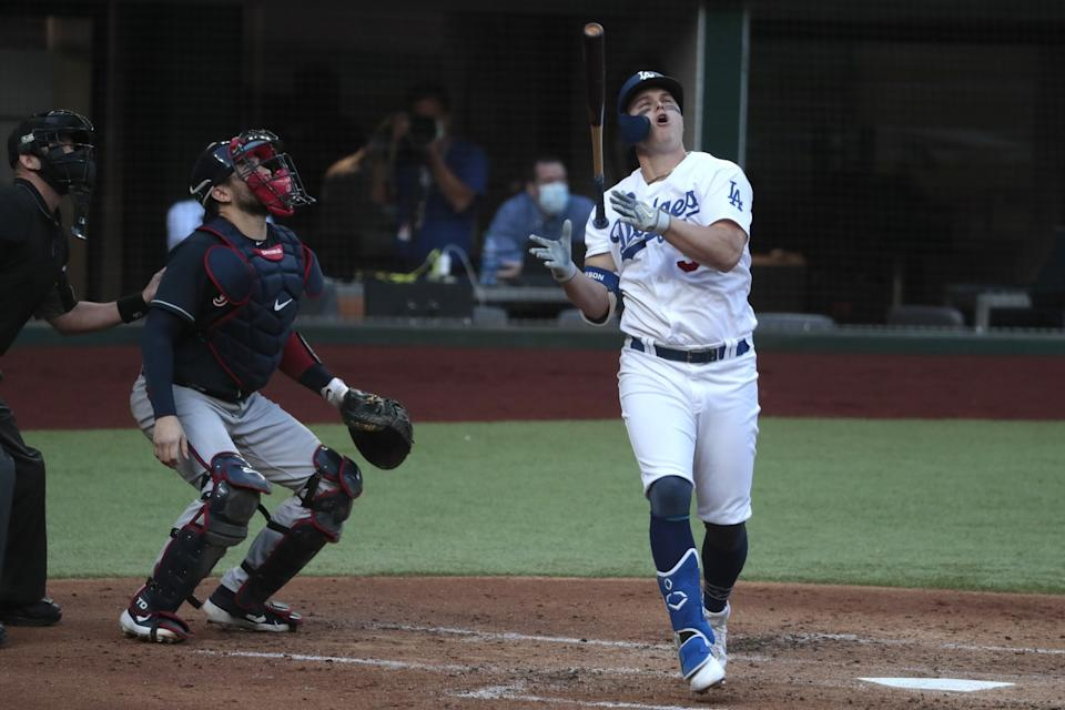 Dodgers left fielder Joc Pederson reacts in disgust after popping out.