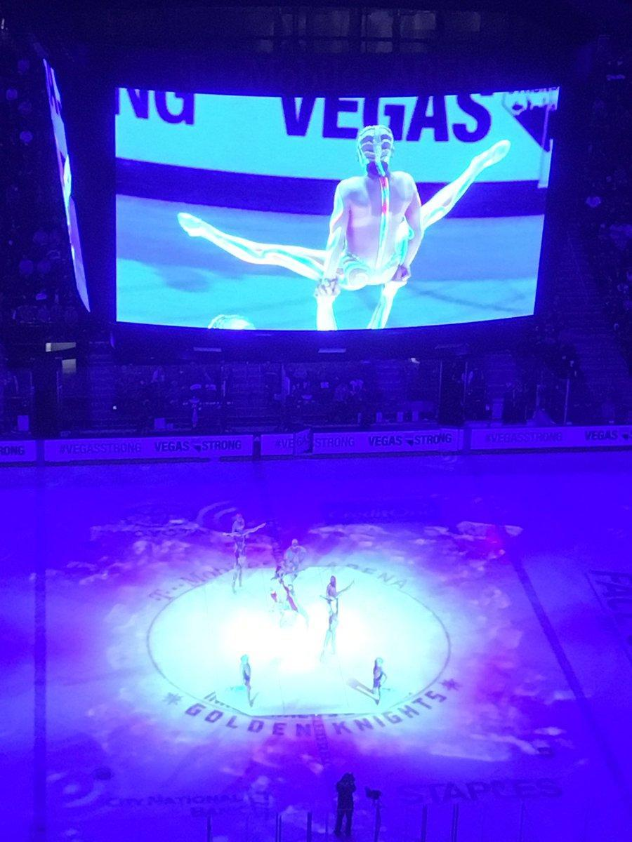 <p>True to form, the Golden Knights had Cirque du Soleil perform during the first intermission. (TheFourthPeriod/Twitter) </p>