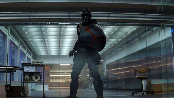 PHOTO: The super-villain Taskmaster stars in the upcoming film 'Black Widow'. He will also battle the good guys at Avengers Campus, opening this summer at Disney California Adventure Park. (Marvel Studios)