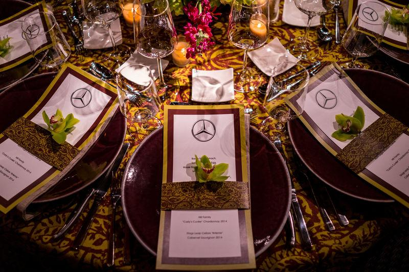 A dinner is set up at Mercedes-Benz USA hospitality area at River Island in Augusta
