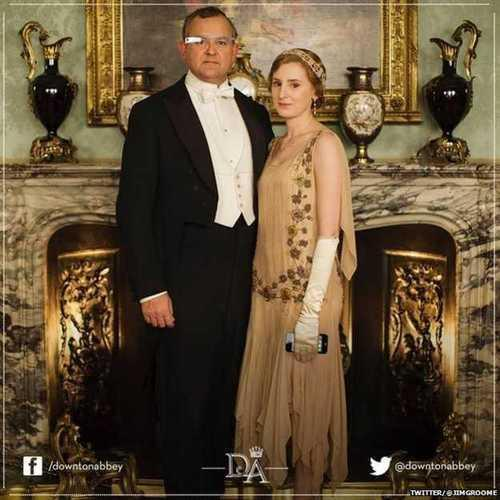 Downton Abbey promotional photo with Google Glass and iPhone