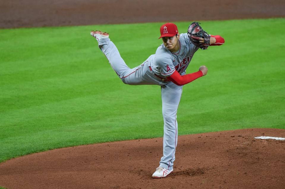 HOUSTON, TX - MAY 11: Los Angeles Angels starting pitcher Shohei Ohtani (17) delivers a pitch during the baseball game between the Los Angeles Angels and Houston Astros at Minute Maid Park on May 11, 2021 in Houston, Texas. (Photo by Ken Murray/Icon Sportswire via Getty Images)