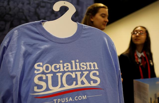 <p>A Turning Point USA booth is tended at the Conservative Political Action Conference (CPAC) at National Harbor, Md., Feb. 22, 2018. (Photo: Kevin Lamarque/Reuters) </p>