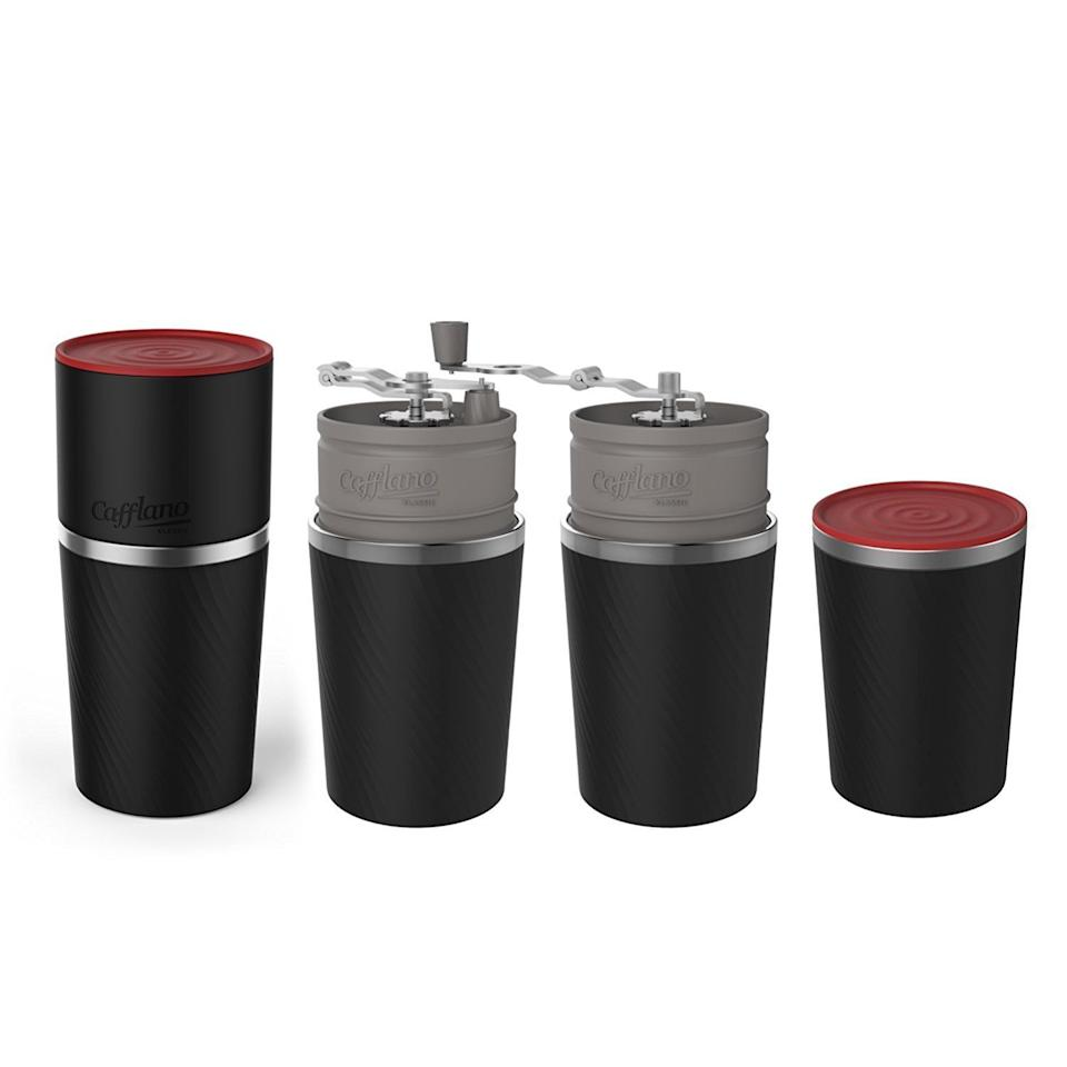 """Hardcore travelers will agree that there's one thing they miss while on the road: a good cup of coffee. Give them a gift that'll taste like home with this combined drip coffee maker, tumbler and grinder. <strong><a href=""""https://www.amazon.com/Cafflano-Portable-Tumbler-Grinder-Dripper/dp/B00WUG6IT4/"""" target=""""_blank"""" rel=""""noopener noreferrer"""">Get it here</a></strong>."""