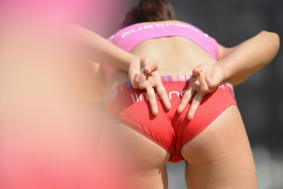 HAMBURG, GERMANY - JUNE 08: A player signals during the primliary rounds of the Smart beach tour 2012 beach volleyball event on June 8, 2012 in Hamburg, Germany. (Photo by Stuart Franklin/Bongarts/Getty Images)