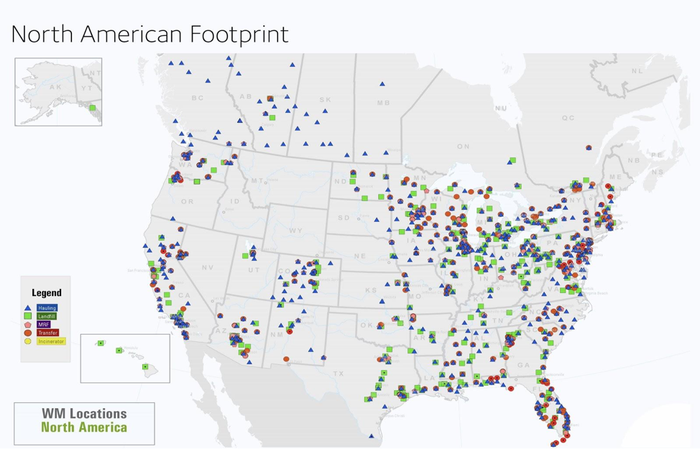 Map of Waste Management Landfills in North America