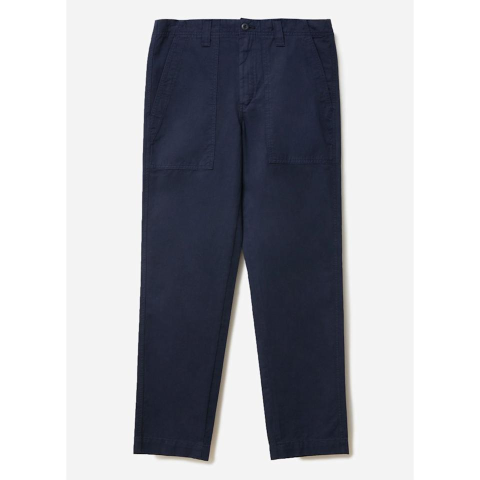 """<p><strong>everlane</strong></p><p>everlane.com</p><p><strong>$68.00</strong></p><p><a href=""""https://go.redirectingat.com?id=74968X1596630&url=https%3A%2F%2Fwww.everlane.com%2Fproducts%2Fmens-fatigue-pant-navy&sref=https%3A%2F%2Fwww.esquire.com%2Fstyle%2Fmens-fashion%2Fg34481068%2Fbest-work-pants-for-men%2F"""" rel=""""nofollow noopener"""" target=""""_blank"""" data-ylk=""""slk:Shop Now"""" class=""""link rapid-noclick-resp"""">Shop Now</a></p>"""