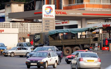 FILE PHOTO: A Total gas station is seen in Libreville