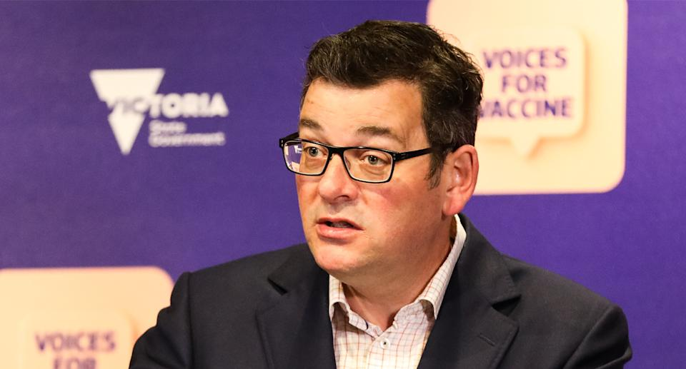 Premier Daniel Andrews is juggling a surging Delta outbreak with an increasingly restless population trapped in lockdown. Source: Getty