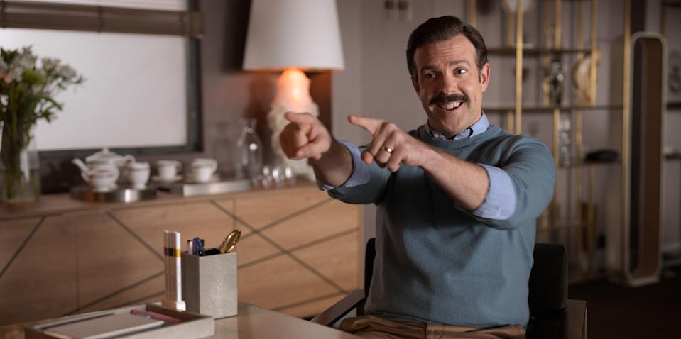 """Jason Sudeikis in """"Ted Lasso,"""" premiering globally on Friday, August 14, on Apple TV+."""