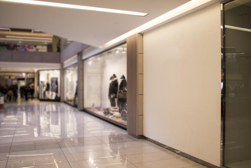 The interior of a mall