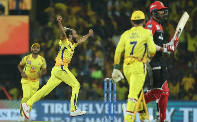 Imran Tahir of Chennai Super Kings celebrates the wicket of Shivam Dube of Royal Challengers Bangalore during match 1 of the Vivo Indian Premier League Season 12, 2019 between the Chennai Superkings and the Royal Challengers Bangalore held at the M. A. Chidambaram Stadium in Chennai, Tamil Nadu on the 23rd March 2019 Photo by Saikat Das /SPORTZPICS for IPL