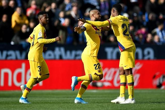 Vidal (C) scored a late winner for Barcelona at Leganes last weekend (AFP Photo/PIERRE-PHILIPPE MARCOU)