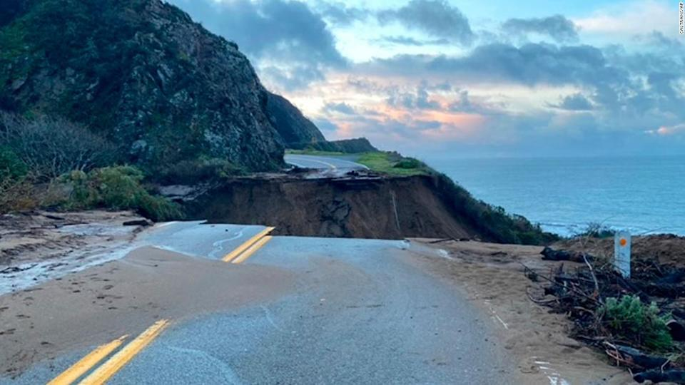"<p>In this photo provided by Caltrans, a section of Highway 1 is shown collapsed.</p> <div class=""cnn--image__credit""><em><small>Credit: Caltrans/AP / AP licensed</small></em></div>"