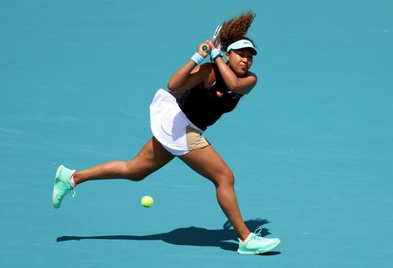 Japan's Naomi Osaka on the way to a second-round victory over Australian Ajla Tomljanovic at the Miami Open ATP and WTA hardcourt tennis tournament