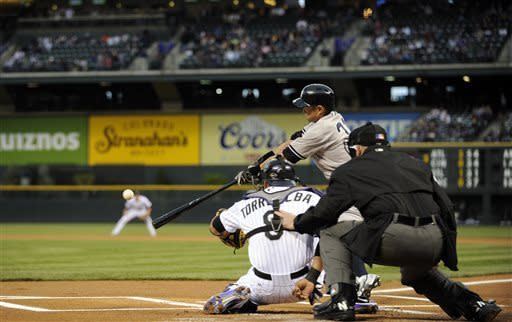 New York Yankees' Ichiro Suzuki lines out to short against the Colorado Rockies during the first inning of a baseball game on Tuesday, May 7, 2013, in Denver. (AP Photo/Jack Dempsey)
