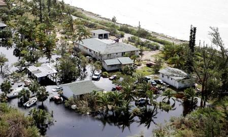 An aerial view shows flooded area after hurricane Dorian hit the Grand Bahama Island in the Bahamas