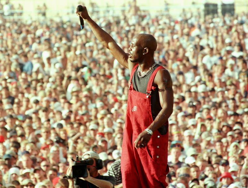 FILE PHOTO: Earl Simmons, better known as rap musician DMX, performs on the main stage at the Woodstock music and arts festival in Rome