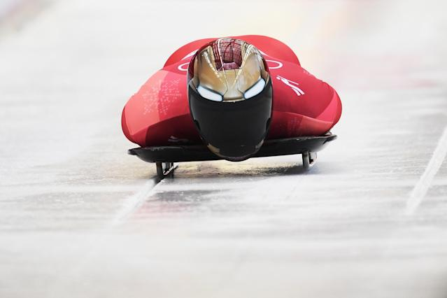 South Korea's Yun Sung-bin forges forward during the Men's Skeleton heats at Olympic Sliding Centre on February 16, 2018 in Pyeongchang-gun, South Korea. (Getty)