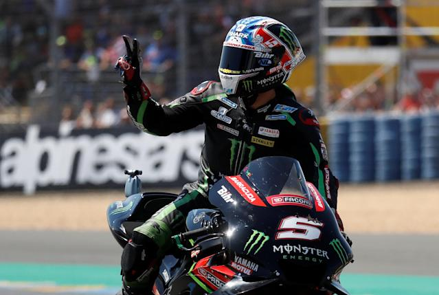 Motorcycling - MotoGP - French Grand Prix - Bugatti Circuit, Le Mans, France - May 19, 2018 Yamaha's Johann Zarco celebrates after qualifying REUTERS/Gonzalo Fuentes