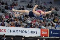 Eddie Penev competes in the floor exercise during the U.S. Gymnastics Championships, Saturday, June 5, 2021, in Fort Worth, Texas. (AP Photo/Tony Gutierrez)