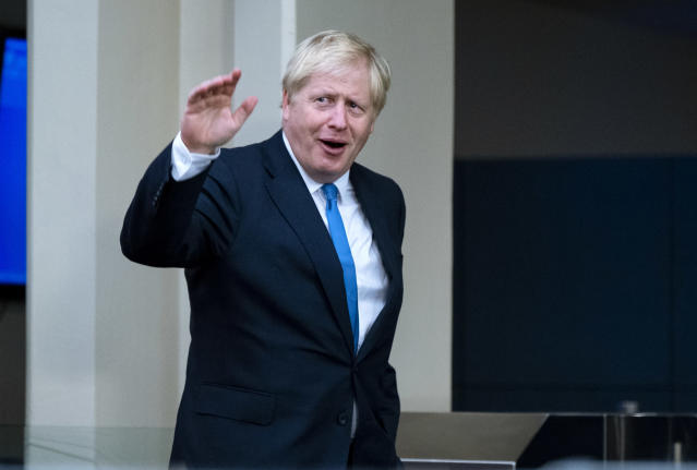 Britain's Prime Minister Boris Johnson arrives for the 74th session of the United Nations General Assembly, at U.N. headquarters, Monday, Sept. 23, 2019. (AP Photo/Craig Ruttle)